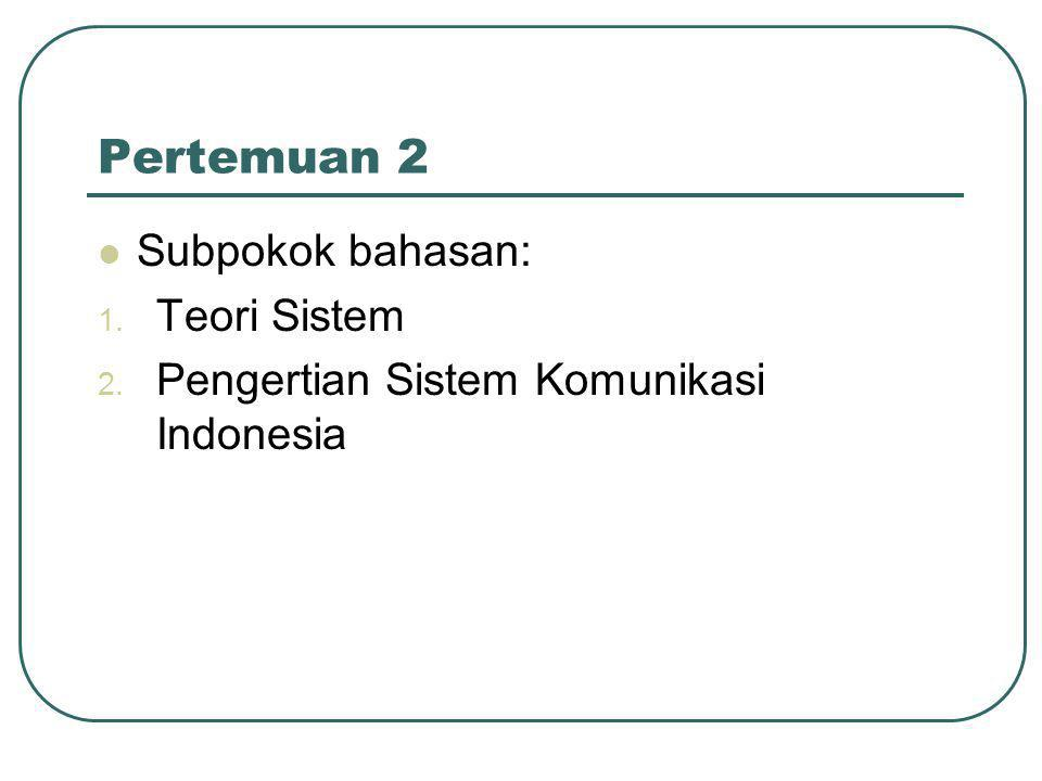 Pertemuan 2  Subpokok bahasan: 1. Teori Sistem 2. Pengertian Sistem Komunikasi Indonesia