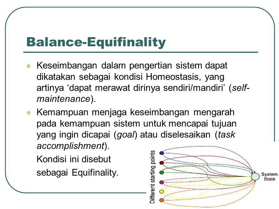 Balance-Equifinality  Keseimbangan dalam pengertian sistem dapat dikatakan sebagai kondisi Homeostasis, yang artinya 'dapat merawat dirinya sendiri/mandiri' (self- maintenance).