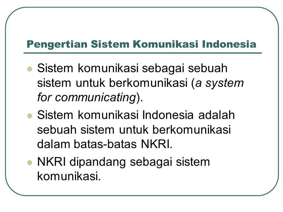 Pengertian Sistem Komunikasi Indonesia  Sistem komunikasi sebagai sebuah sistem untuk berkomunikasi (a system for communicating).