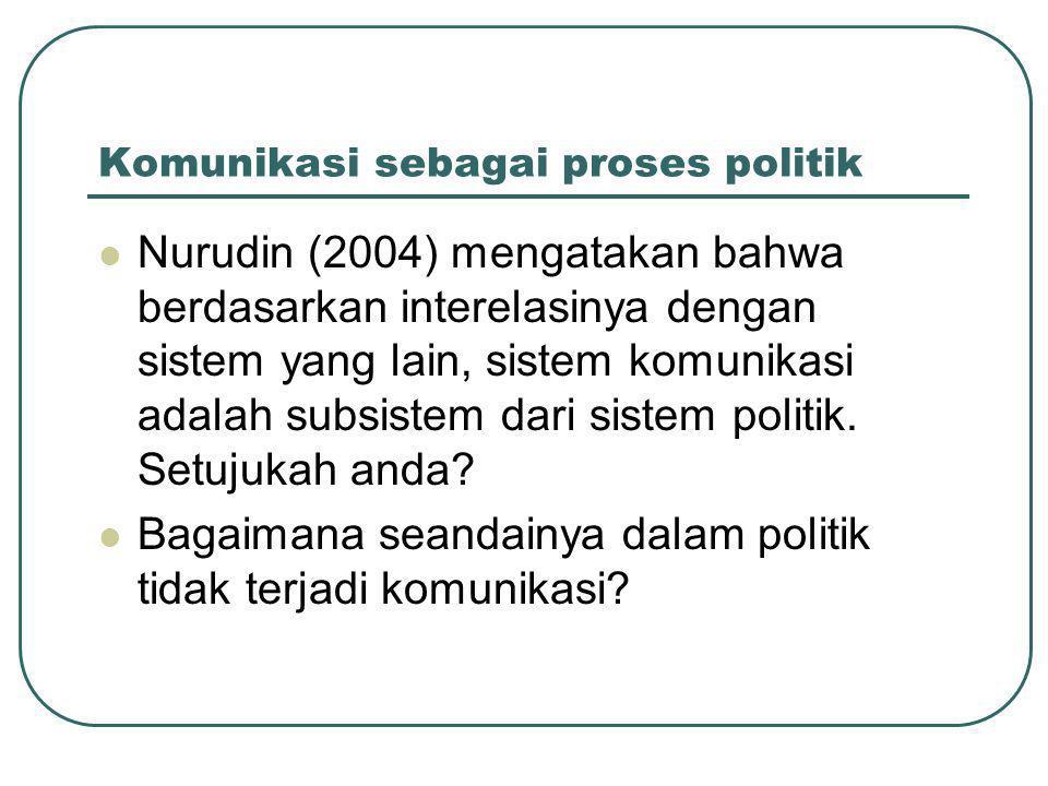 Komunikasi sebagai proses politik  Nurudin (2004) mengatakan bahwa berdasarkan interelasinya dengan sistem yang lain, sistem komunikasi adalah subsistem dari sistem politik.