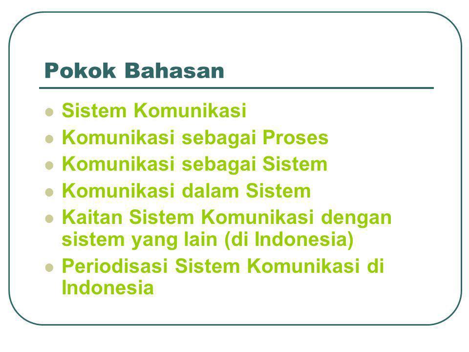 Pokok Bahasan  Sistem Komunikasi  Komunikasi sebagai Proses  Komunikasi sebagai Sistem  Komunikasi dalam Sistem  Kaitan Sistem Komunikasi dengan sistem yang lain (di Indonesia)  Periodisasi Sistem Komunikasi di Indonesia