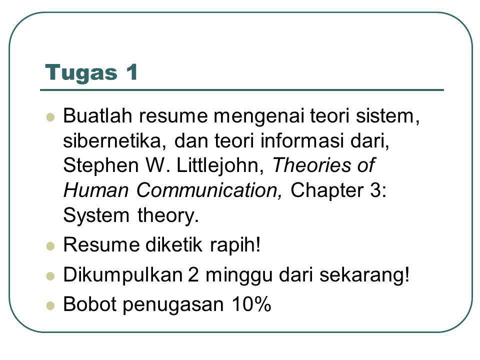 Tugas 1  Buatlah resume mengenai teori sistem, sibernetika, dan teori informasi dari, Stephen W.