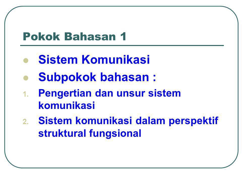 Pokok Bahasan 1  Sistem Komunikasi  Subpokok bahasan : 1.