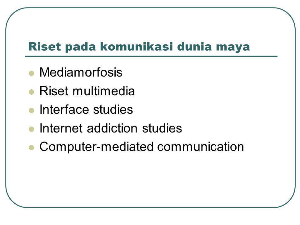 Riset pada komunikasi dunia maya  Mediamorfosis  Riset multimedia  Interface studies  Internet addiction studies  Computer-mediated communication