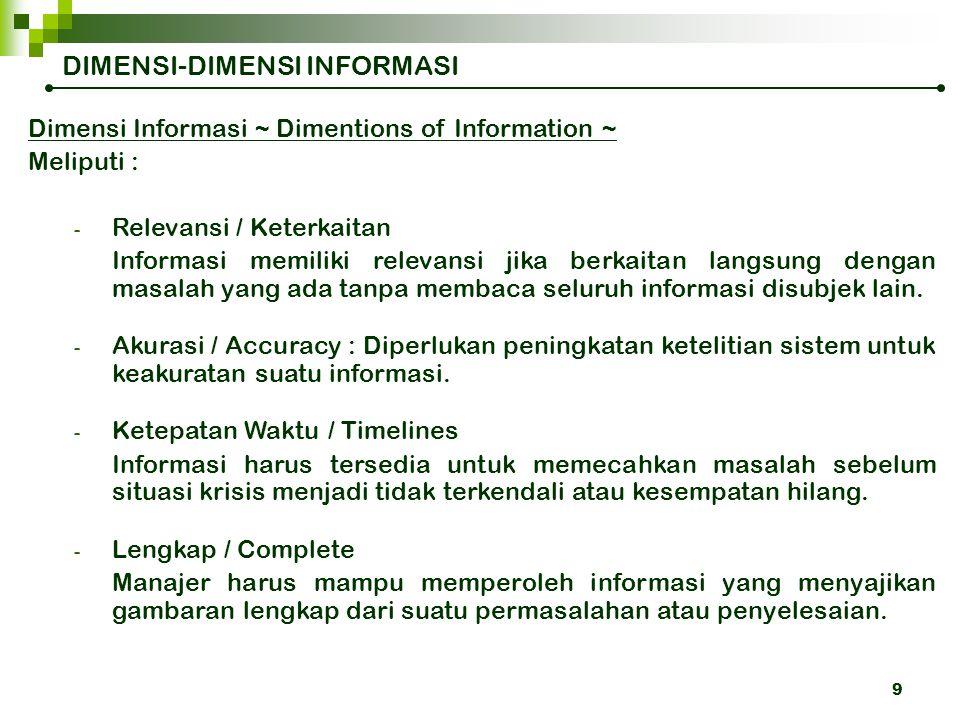8 Umpan balik yang berguna untuk proses pengendalian adalah INFORMASI yang memiliki beberapa dimensi. Input Resources Output Resources Proses Transfor
