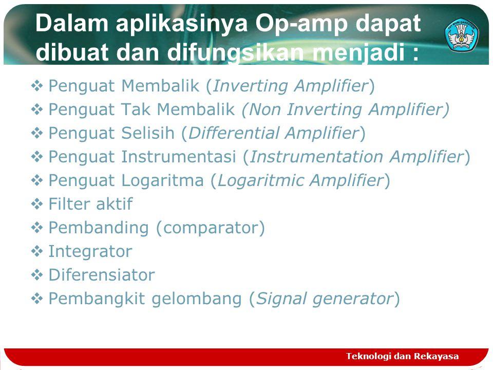 Dalam aplikasinya Op-amp dapat dibuat dan difungsikan menjadi :  Penguat Membalik (Inverting Amplifier)  Penguat Tak Membalik (Non Inverting Amplifier)  Penguat Selisih (Differential Amplifier)  Penguat Instrumentasi (Instrumentation Amplifier)  Penguat Logaritma (Logaritmic Amplifier)  Filter aktif  Pembanding (comparator)  Integrator  Diferensiator  Pembangkit gelombang (Signal generator) Teknologi dan Rekayasa