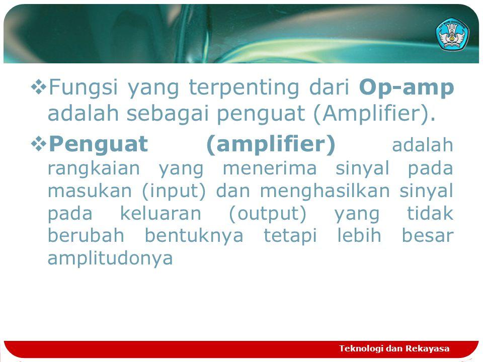  Fungsi yang terpenting dari Op-amp adalah sebagai penguat (Amplifier).  Penguat (amplifier) adalah rangkaian yang menerima sinyal pada masukan (inp