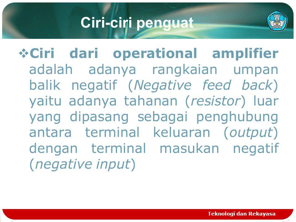 Ciri-ciri penguat  Ciri dari operational amplifier adalah adanya rangkaian umpan balik negatif (Negative feed back) yaitu adanya tahanan (resistor) luar yang dipasang sebagai penghubung antara terminal keluaran (output) dengan terminal masukan negatif (negative input) Teknologi dan Rekayasa