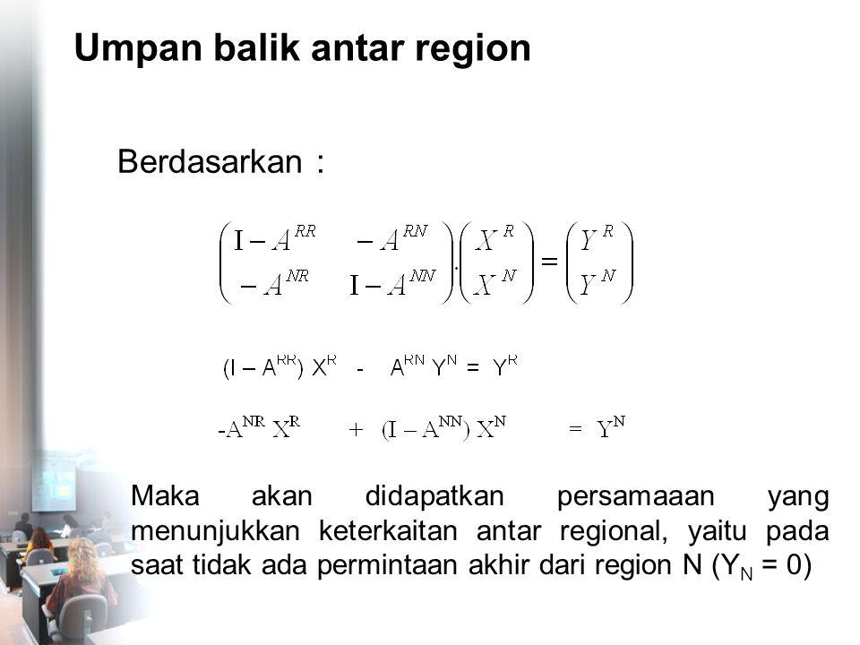 Umpan balik antar region Berdasarkan : Maka akan didapatkan persamaaan yang menunjukkan keterkaitan antar regional, yaitu pada saat tidak ada perminta