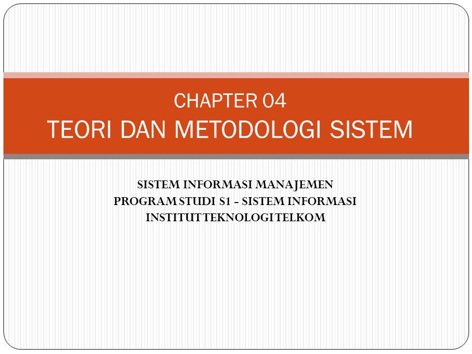 SISTEM INFORMASI MANAJEMEN PROGRAM STUDI S1 - SISTEM INFORMASI INSTITUT TEKNOLOGI TELKOM CHAPTER 04 TEORI DAN METODOLOGI SISTEM
