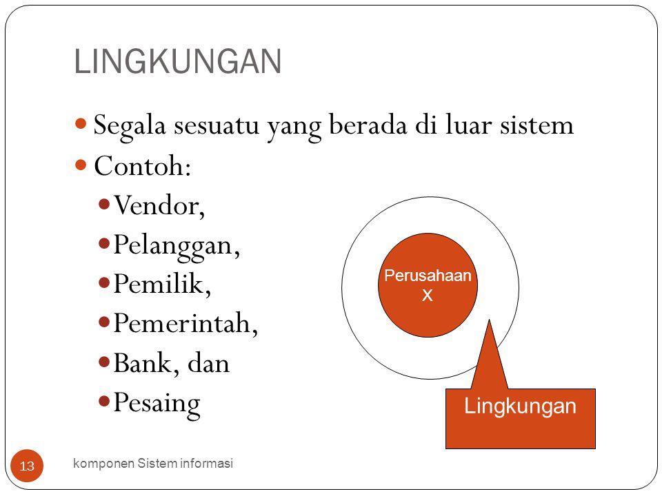 LINGKUNGAN komponen Sistem informasi 13  Segala sesuatu yang berada di luar sistem  Contoh:  Vendor,  Pelanggan,  Pemilik,  Pemerintah,  Bank,
