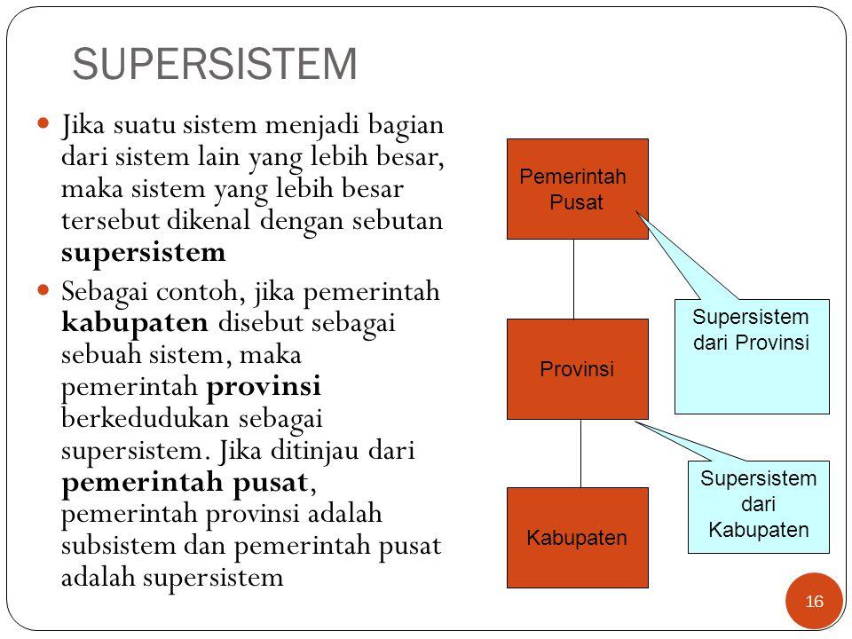 SUPERSISTEM  Jika suatu sistem menjadi bagian dari sistem lain yang lebih besar, maka sistem yang lebih besar tersebut dikenal dengan sebutan supersi