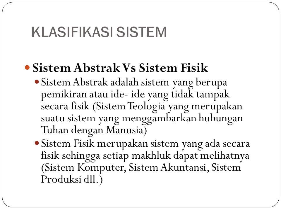 KLASIFIKASI SISTEM  Sistem Abstrak Vs Sistem Fisik  Sistem Abstrak adalah sistem yang berupa pemikiran atau ide- ide yang tidak tampak secara fisik