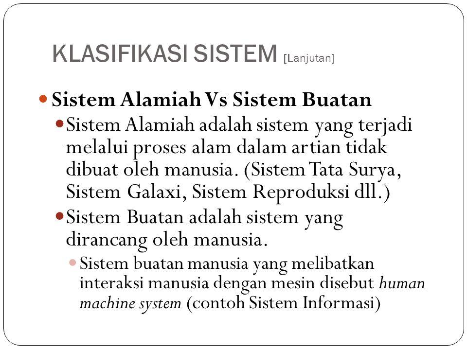 KLASIFIKASI SISTEM [Lanjutan]  Sistem Alamiah Vs Sistem Buatan  Sistem Alamiah adalah sistem yang terjadi melalui proses alam dalam artian tidak dib