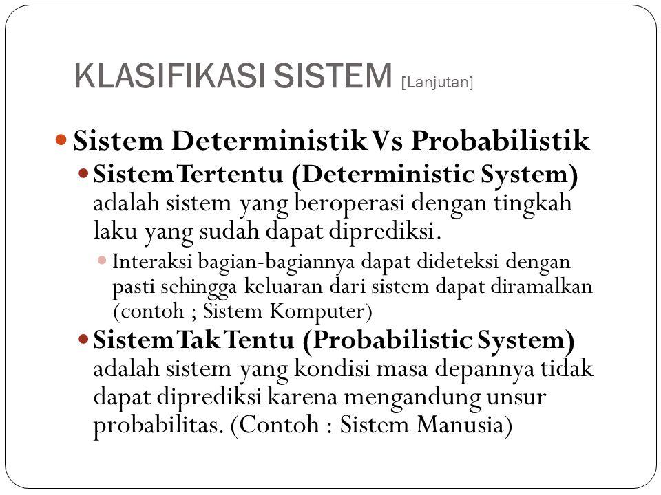 KLASIFIKASI SISTEM [Lanjutan]  Sistem Deterministik Vs Probabilistik  Sistem Tertentu (Deterministic System) adalah sistem yang beroperasi dengan ti