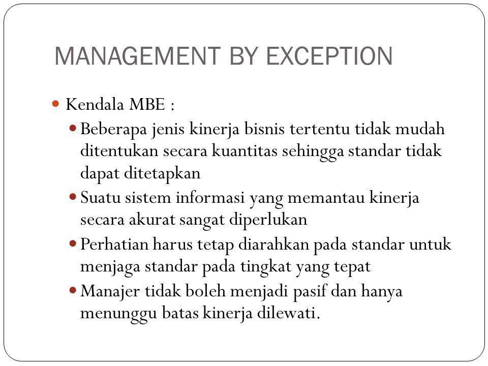 MANAGEMENT BY EXCEPTION  Kendala MBE :  Beberapa jenis kinerja bisnis tertentu tidak mudah ditentukan secara kuantitas sehingga standar tidak dapat