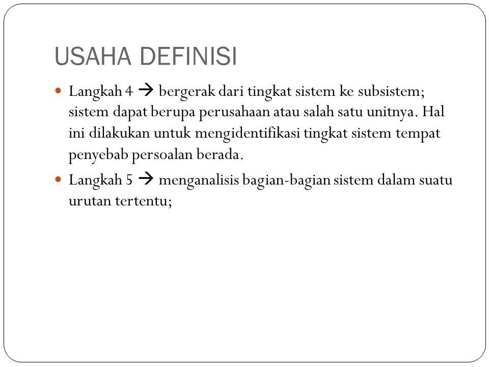 USAHA DEFINISI  Langkah 4  bergerak dari tingkat sistem ke subsistem; sistem dapat berupa perusahaan atau salah satu unitnya. Hal ini dilakukan untu