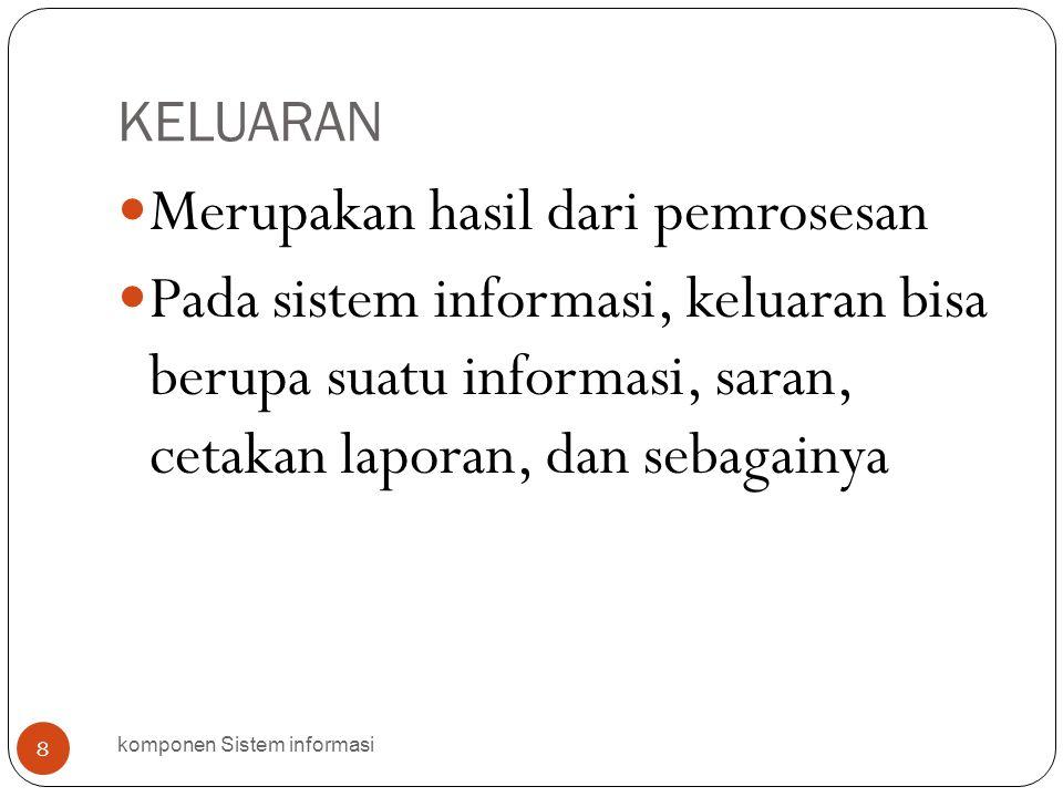 KELUARAN komponen Sistem informasi 8  Merupakan hasil dari pemrosesan  Pada sistem informasi, keluaran bisa berupa suatu informasi, saran, cetakan l