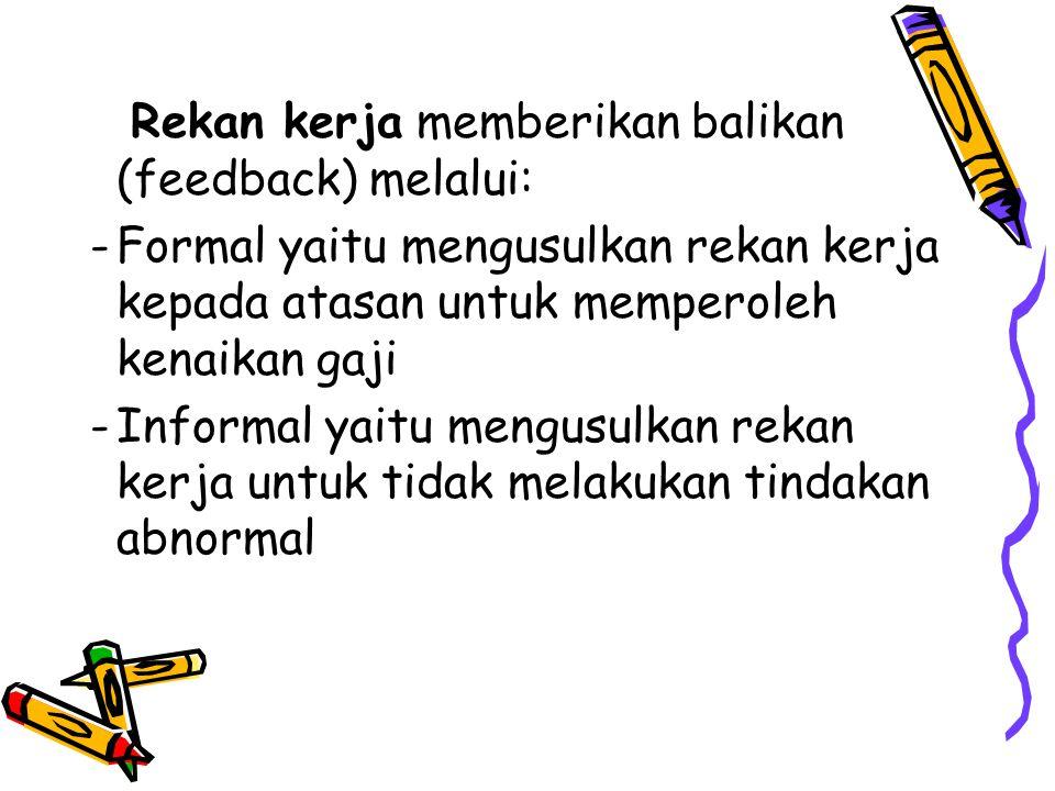Rekan kerja memberikan balikan (feedback) melalui: -Formal yaitu mengusulkan rekan kerja kepada atasan untuk memperoleh kenaikan gaji -Informal yaitu mengusulkan rekan kerja untuk tidak melakukan tindakan abnormal