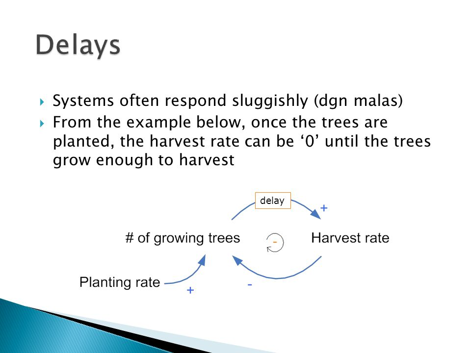  Systems often respond sluggishly (dgn malas)  From the example below, once the trees are planted, the harvest rate can be '0' until the trees grow