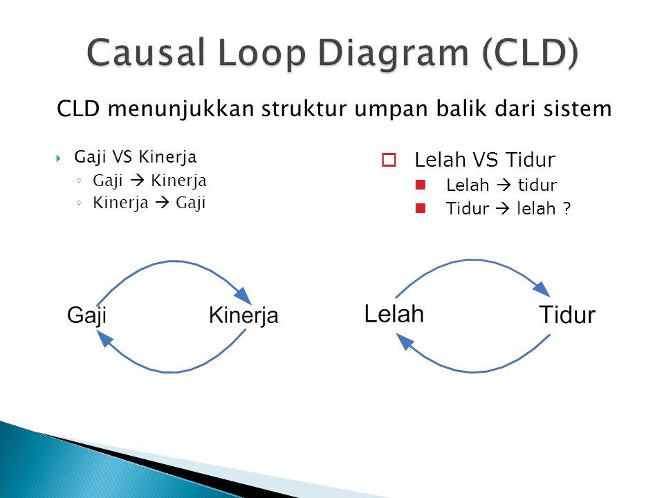  Gaji VS Kinerja ◦ Gaji  Kinerja ◦ Kinerja  Gaji  Lelah VS Tidur  Lelah  tidur  Tidur  lelah ? CLD menunjukkan struktur umpan balik dari siste