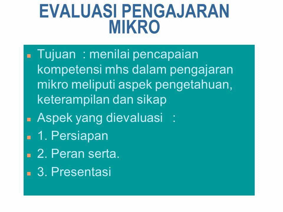EVALUASI PENGAJARAN MIKRO n Tujuan : menilai pencapaian kompetensi mhs dalam pengajaran mikro meliputi aspek pengetahuan, keterampilan dan sikap n Aspek yang dievaluasi : n 1.