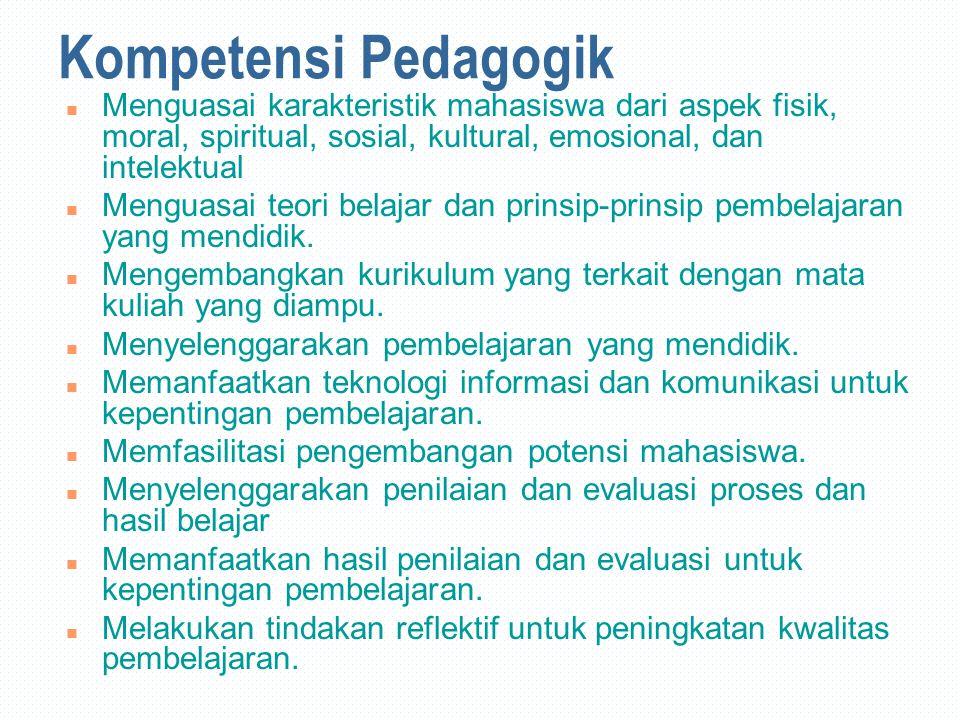 Kompetensi Pedagogik n Menguasai karakteristik mahasiswa dari aspek fisik, moral, spiritual, sosial, kultural, emosional, dan intelektual n Menguasai