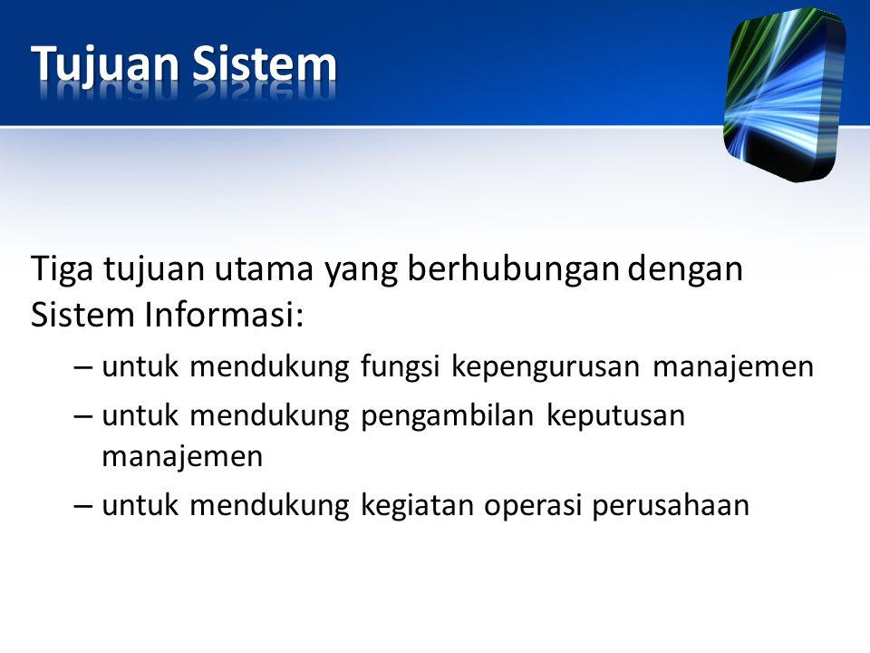 Tiga tujuan utama yang berhubungan dengan Sistem Informasi: – untuk mendukung fungsi kepengurusan manajemen – untuk mendukung pengambilan keputusan ma