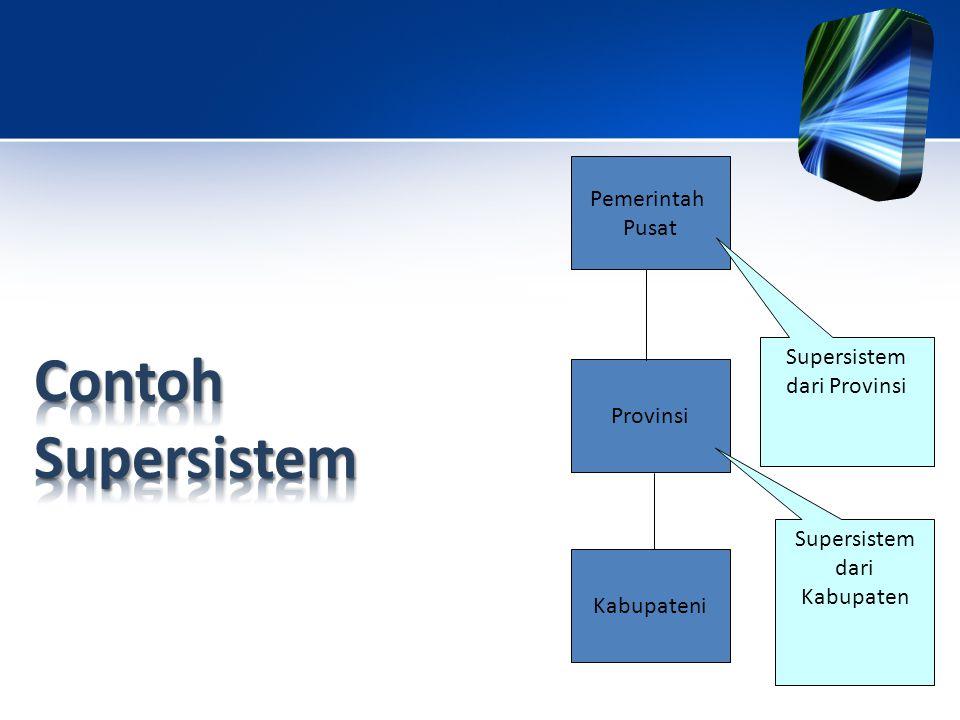 Pemerintah Pusat Provinsi Kabupateni Supersistem dari Kabupaten Supersistem dari Provinsi