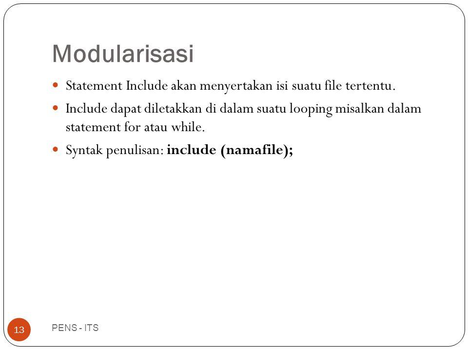 Modularisasi PENS - ITS 13  Statement Include akan menyertakan isi suatu file tertentu.