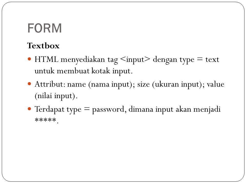 Textbox  HTML menyediakan tag dengan type = text untuk membuat kotak input.