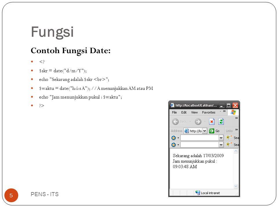 Fungsi PENS - ITS 5 Contoh Fungsi Date:  <.