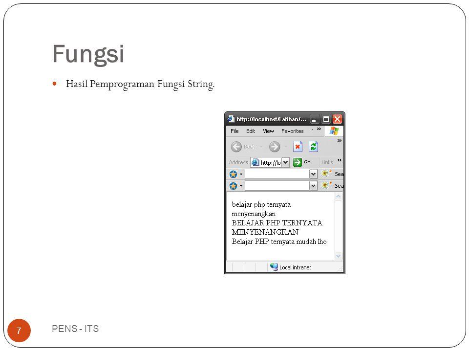 Fungsi PENS - ITS 7  Hasil Pemprograman Fungsi String.