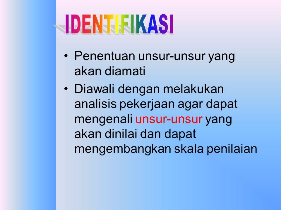 •IDENTIFIKASI •OBSERVASI •PENGUKURAN •PENGEMBANGAN HASIL KERJA KARYAWAN