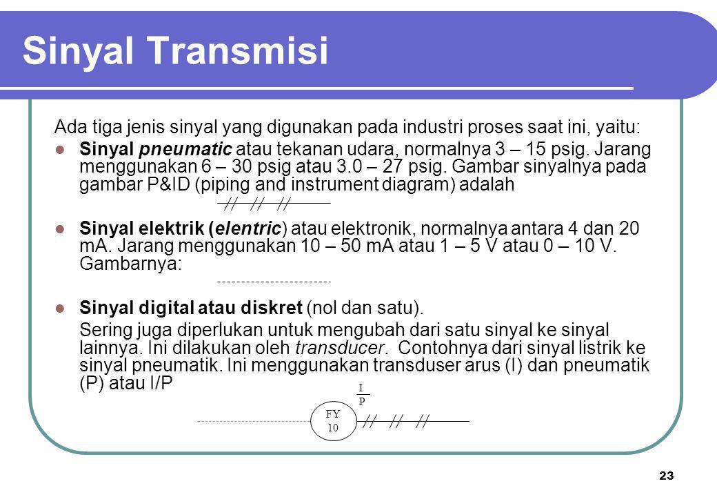 23 Sinyal Transmisi Ada tiga jenis sinyal yang digunakan pada industri proses saat ini, yaitu:  Sinyal pneumatic atau tekanan udara, normalnya 3 – 15 psig.
