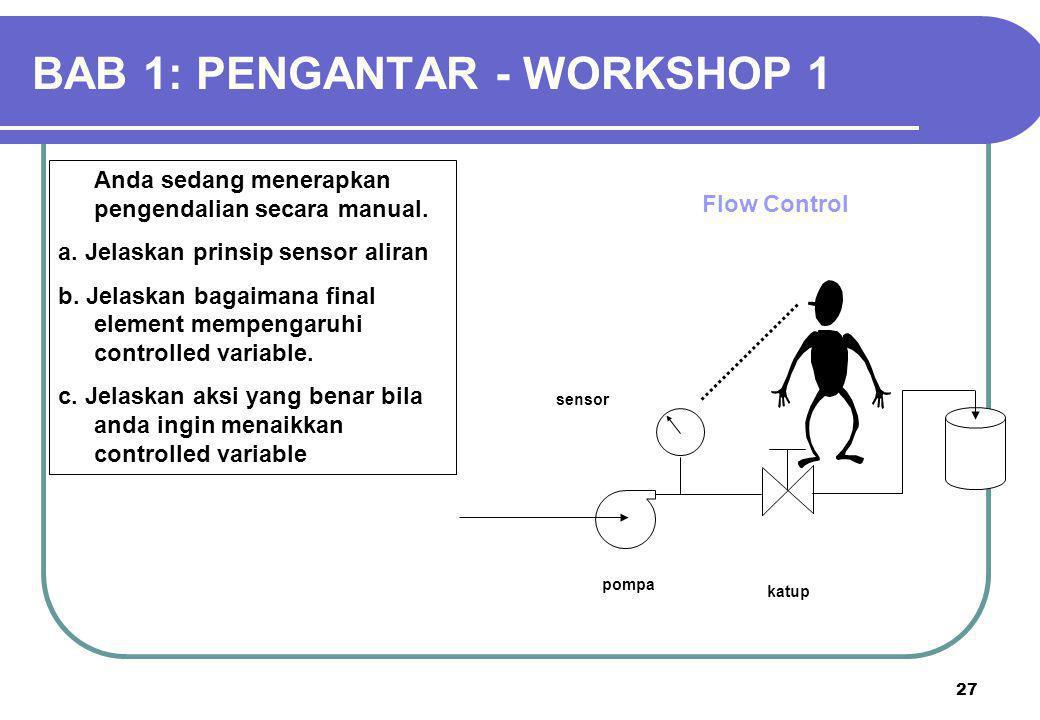 27 Anda sedang menerapkan pengendalian secara manual. a. Jelaskan prinsip sensor aliran b. Jelaskan bagaimana final element mempengaruhi controlled va