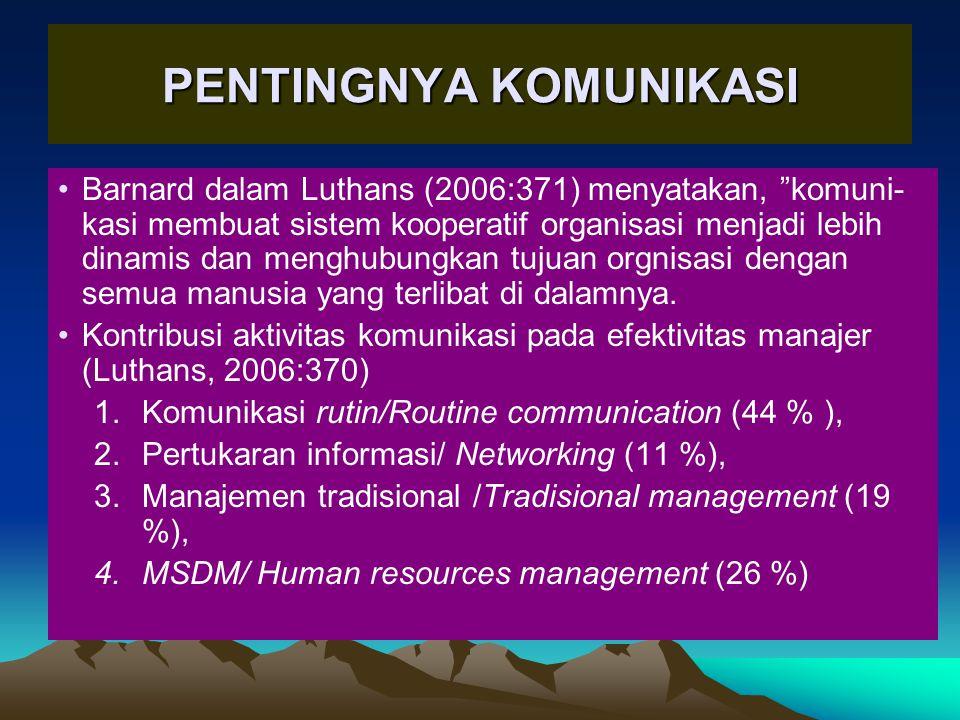 PENTINGNYA KOMUNIKASI •Barnard dalam Luthans (2006:371) menyatakan, komuni- kasi membuat sistem kooperatif organisasi menjadi lebih dinamis dan menghubungkan tujuan orgnisasi dengan semua manusia yang terlibat di dalamnya.
