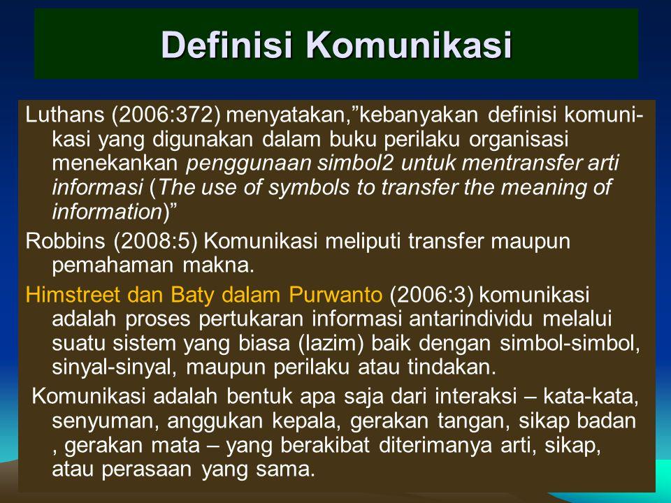 Definisi Komunikasi Luthans (2006:372) menyatakan, kebanyakan definisi komuni- kasi yang digunakan dalam buku perilaku organisasi menekankan penggunaan simbol2 untuk mentransfer arti informasi (The use of symbols to transfer the meaning of information) Robbins (2008:5) Komunikasi meliputi transfer maupun pemahaman makna.