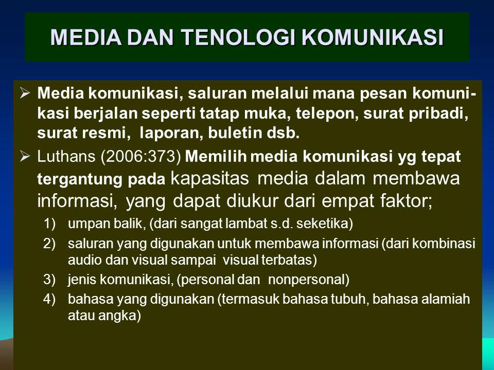 MEDIA DAN TENOLOGI KOMUNIKASI  Media komunikasi, saluran melalui mana pesan komuni- kasi berjalan seperti tatap muka, telepon, surat pribadi, surat resmi, laporan, buletin dsb.