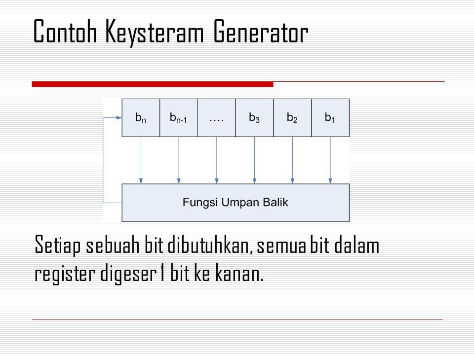 Setiap sebuah bit dibutuhkan, semua bit dalam register digeser 1 bit ke kanan. Contoh Keysteram Generator