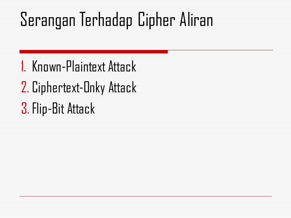 1.Known-Plaintext Attack 2.Ciphertext-Onky Attack 3.Flip-Bit Attack Serangan Terhadap Cipher Aliran