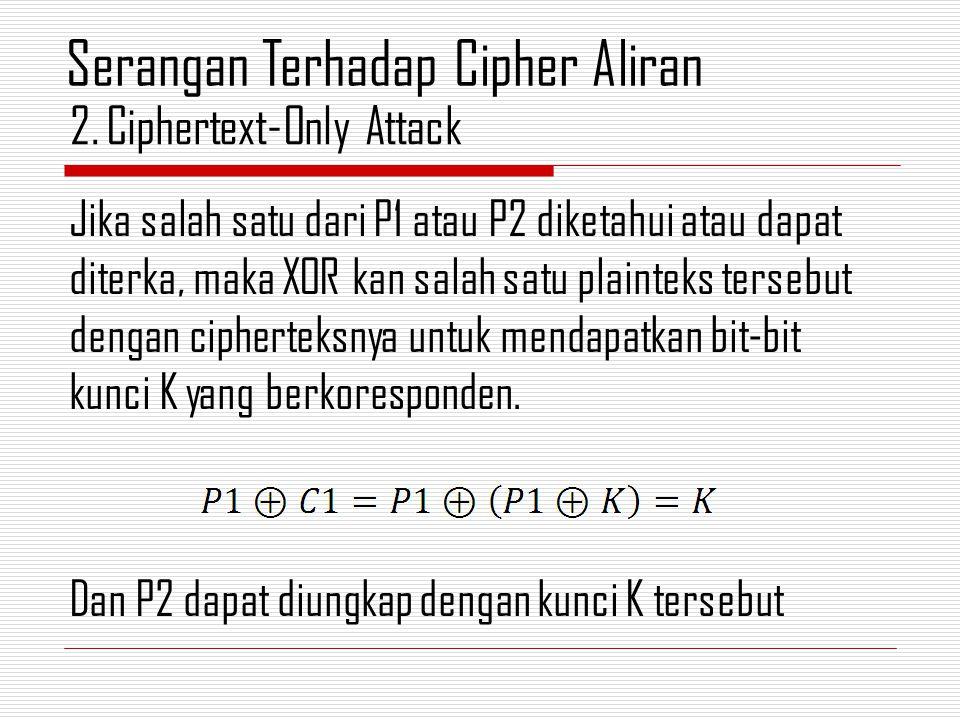 Jika salah satu dari P1 atau P2 diketahui atau dapat diterka, maka XOR kan salah satu plainteks tersebut dengan cipherteksnya untuk mendapatkan bit-bi