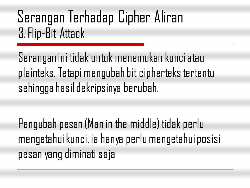 Serangan ini tidak untuk menemukan kunci atau plainteks. Tetapi mengubah bit cipherteks tertentu sehingga hasil dekripsinya berubah. Pengubah pesan (M
