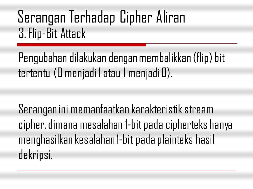 Pengubahan dilakukan dengan membalikkan (flip) bit tertentu (0 menjadi 1 atau 1 menjadi 0). Serangan ini memanfaatkan karakteristik stream cipher, dim