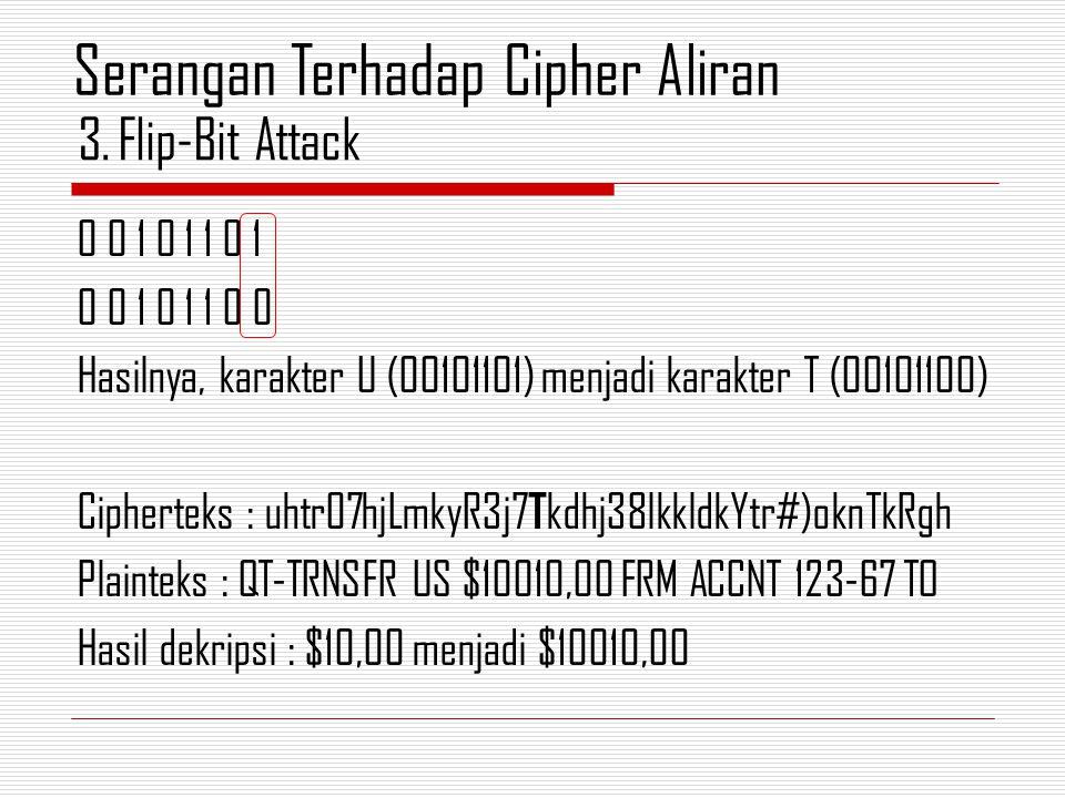 0 0 1 0 1 1 0 1 0 0 1 0 1 1 0 0 Hasilnya, karakter U (00101101) menjadi karakter T (00101100) Cipherteks : uhtr07hjLmkyR3j7 T kdhj38lkkldkYtr#)oknTkRg