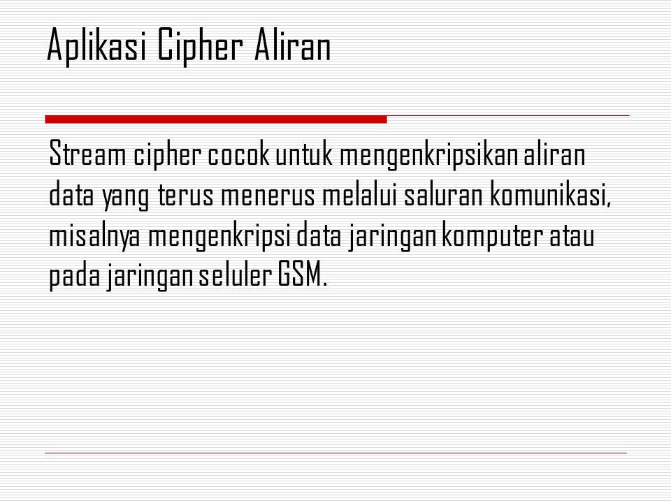 Stream cipher cocok untuk mengenkripsikan aliran data yang terus menerus melalui saluran komunikasi, misalnya mengenkripsi data jaringan komputer atau