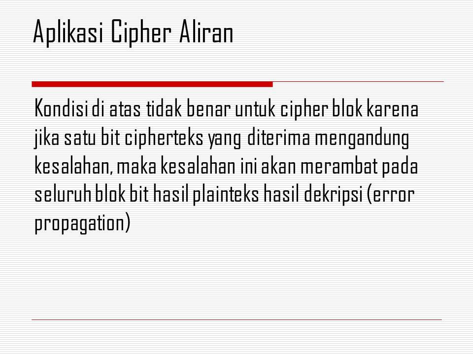 Kondisi di atas tidak benar untuk cipher blok karena jika satu bit cipherteks yang diterima mengandung kesalahan, maka kesalahan ini akan merambat pad
