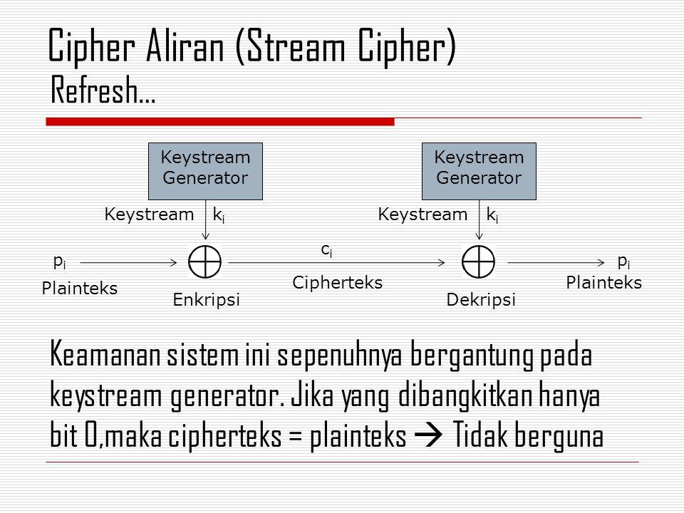 Keamanan sistem ini sepenuhnya bergantung pada keystream generator. Jika yang dibangkitkan hanya bit 0,maka cipherteks = plainteks  Tidak berguna Ref