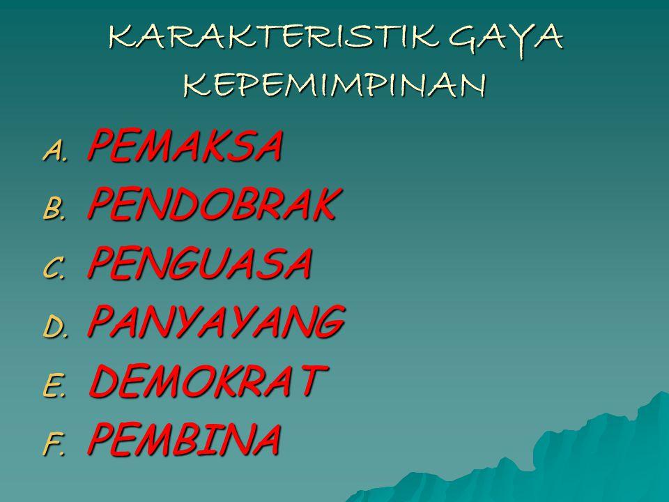 KARAKTERISTIK GAYA KEPEMIMPINAN A.PEMAKSA B. PENDOBRAK C.
