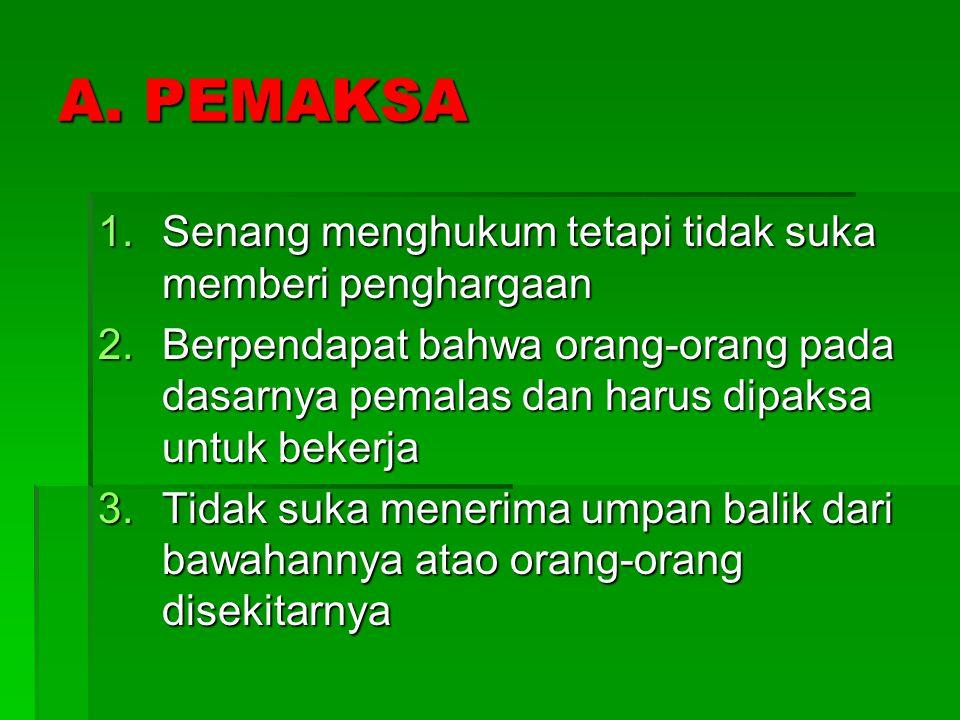 KARAKTERISTIK GAYA KEPEMIMPINAN A. PEMAKSA B. PENDOBRAK C. PENGUASA D. PANYAYANG E. DEMOKRAT F. PEMBINA